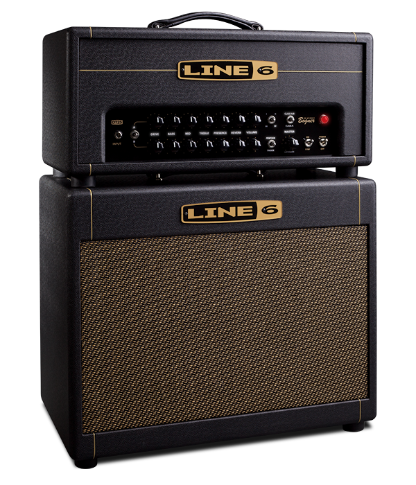 Line 6 DT 25 head and cabinet product photo with four voicings and 12