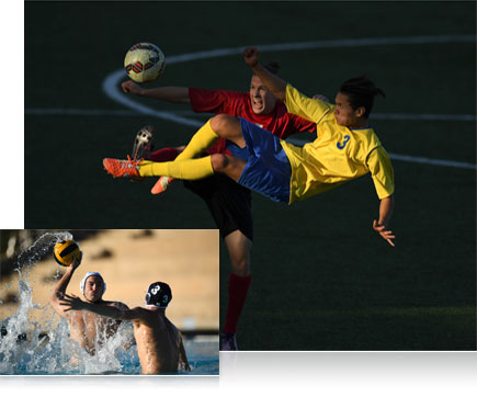 D5 DSLR photo of soccer players inset with a D5 photo of water polo players