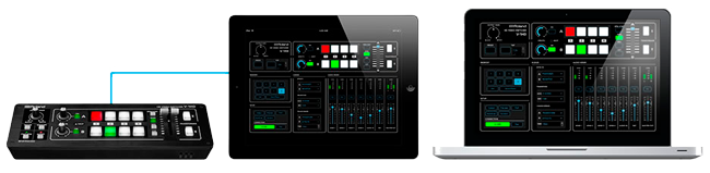 Roland V-1HD HD Video Switcher with iPad and MacBook Pro